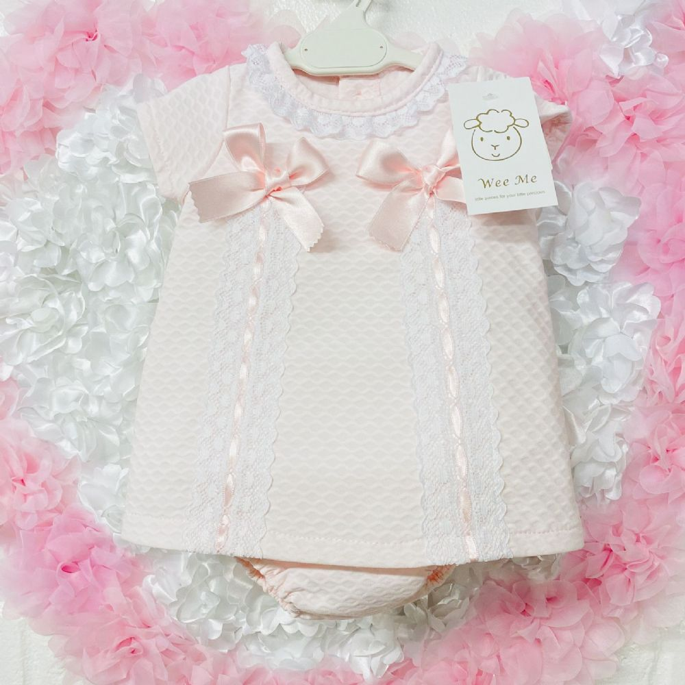 * Baby Girl Spanish Pink Waffle Dress with Two Bows Pants Set